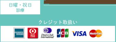 日曜・祝日診療 診療時間 10:00~13:00/14:00~20:00 TEL:06-6623-2401 クレジット取扱い