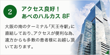 2.アクセス良好! あべのハルカス8F  大阪の南のターミナル「天王駅駅」直結しており、アクセスが便利な為、遠方からも多数の患者様にお越し頂いております。