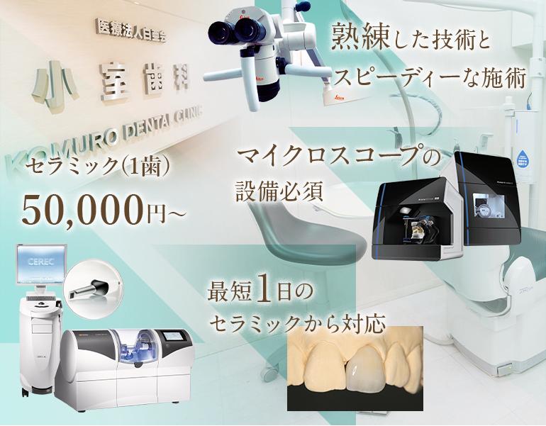 セラミック(1歯)54,000円~ 熟練した技術とスピーディーな施術 最短1日のセラミックから対応 マイクロスコープの設備必須